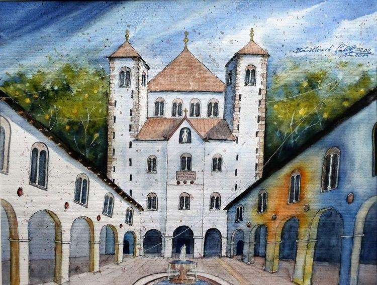 Rekonstruktion, Höxter, Weserbergland, Deutschland, Kloster, Aquarellmalerei