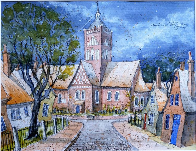 Pilsum, Ostfriesland, Krummhörn, Kirche, Aquarellmalerei, Aquarell
