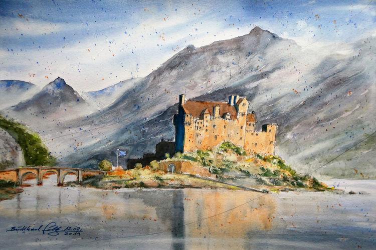 Geschichte, Burg, Schottland, Aquarellmalerei, Architektur, Highlands