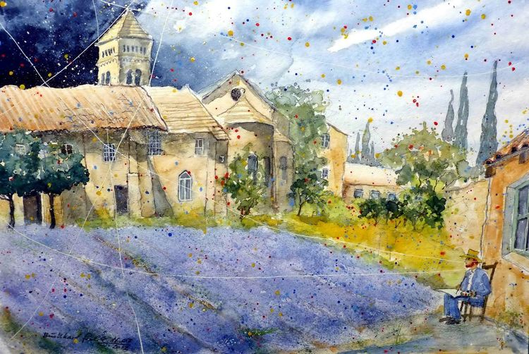 Kirche, Provence, Aquarellmalerei, Lavendel, Architektur, Frankreich