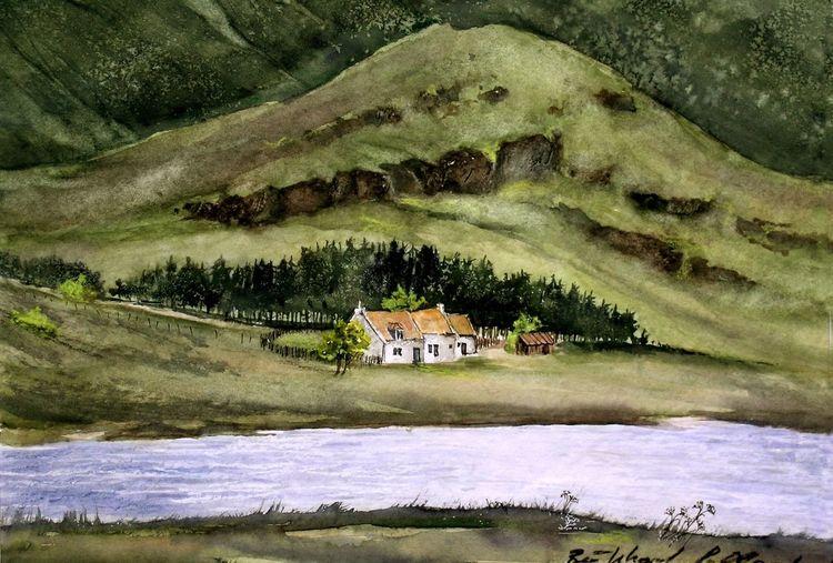 Glen coe, Großbritanien, Schottland, Aquarell, Landschaft,