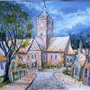 Krummhörn, Kirche, Aquarellmalerei, Pilsum