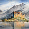 Schottland, Aquarellmalerei, Architektur, Highlands