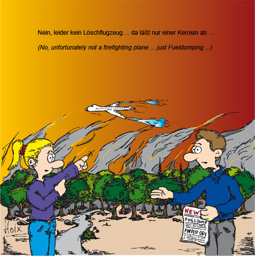Kerosinablass, Waldbrandgefahr, Fueldumping, Umwelt, Cartoon, Wald