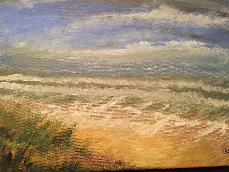 Strand, Landschaft, Dünen, Malerei, Nordsee, Meer