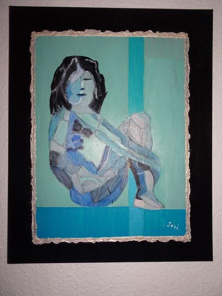 Zeichnung, Abstrakt, Frau, Blau, Menschen, Malerei