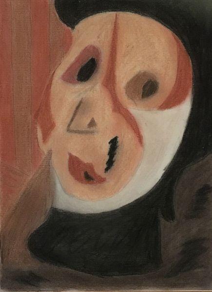 Frau, Portrait, Abstrakt, Kreide, Zeichnungen