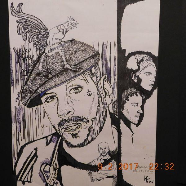 Zeichnung, Kompositionsexperiment, Portrait, Zeichnungen