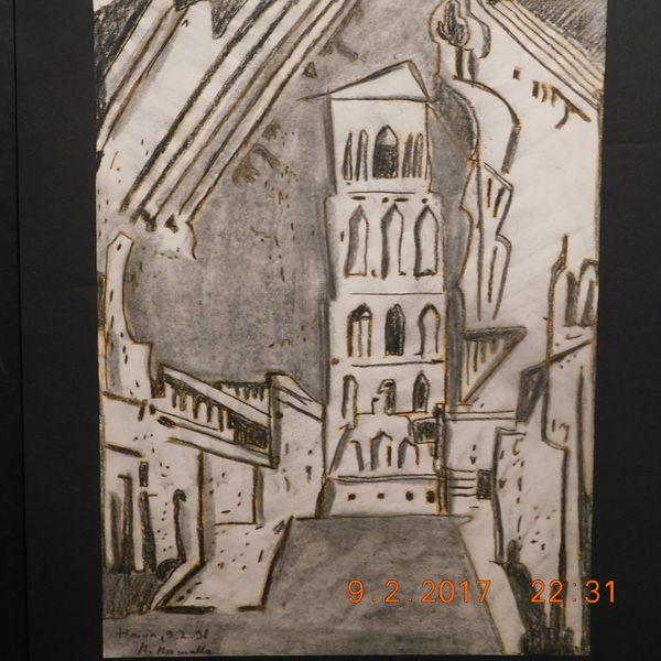 Stadtlandschaft, Rötelstudie, Abstrakt, Zeichnungen