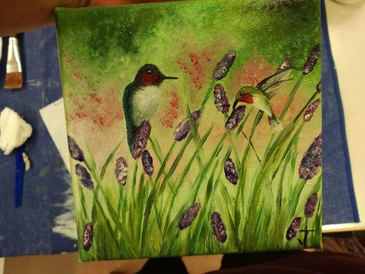 Vogel, Frühling, Blumenwiese, Malerei