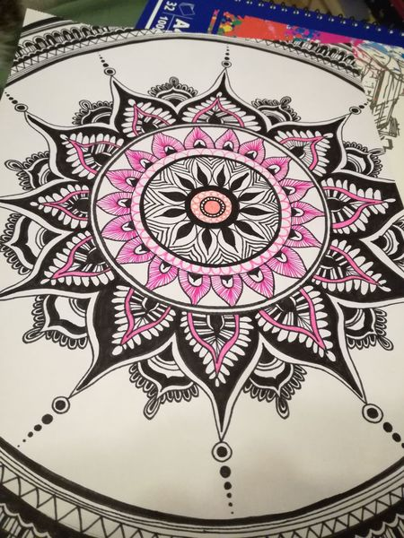Selbstdesign, Schwarz, Pink, Mandala, Zeichnungen