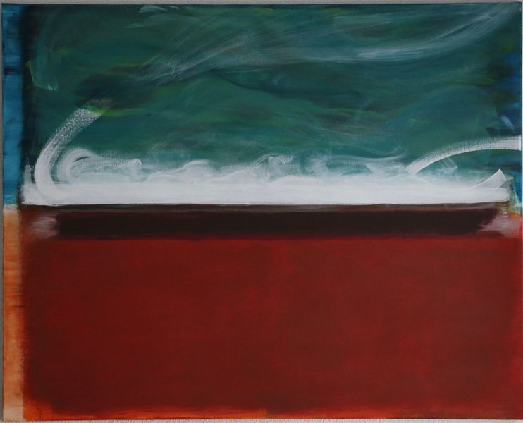 Malerei, Moderne kunst, Acryl auf leinwand, Grün, Abstrakt, Siena erdfarbe