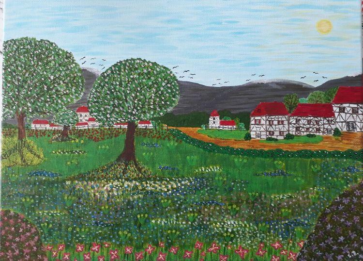 Baum, Landschaft, Malerei, Dorf