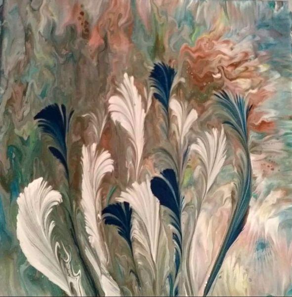 Blau, Weiß, Orange, Malerei, Abstrakt