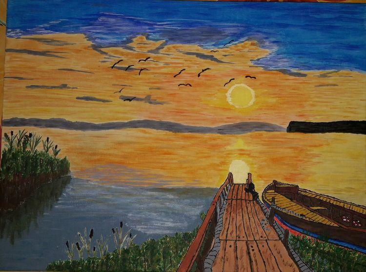 Landschaft, Malerei, Wasser, See