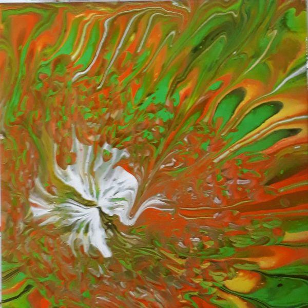 Grün, Orange, Weiß, Mischtechnik