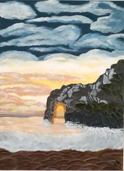 Malerei, Wasser, Sonnenuntergang, Felsen