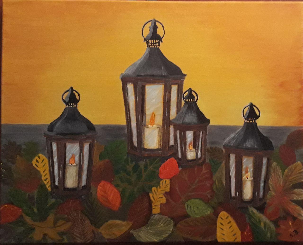 Herbstlicht Laub Laterne Kerzen Malerei Von Sigrid Baul Bei