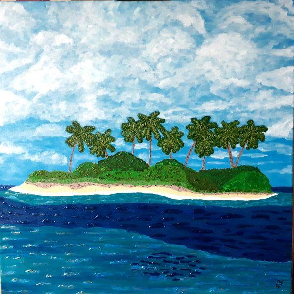 Palmen, Insel, Meer, Malerei, Südsee