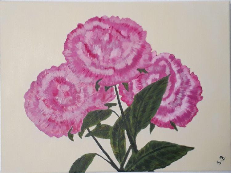 Blätter, Rosa, Blumen, Malerei, Pfingstrosen
