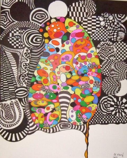 Abstrakt, Zeichnung, Mischtechnik
