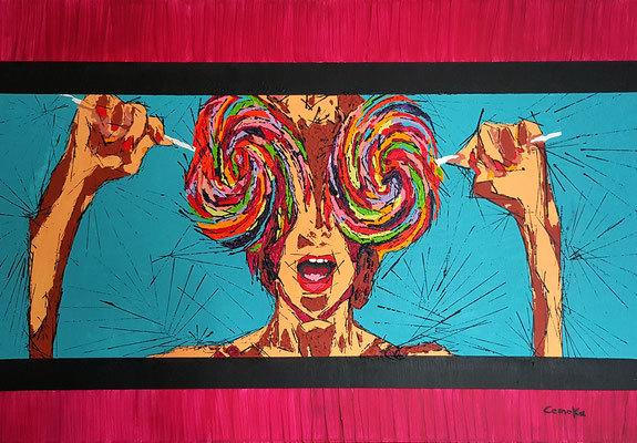 Frau, Modern art, Abstrakt, Lollipop, Malerei, Bunte farbe