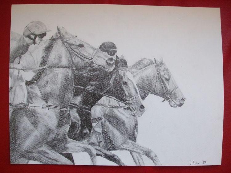 Galopprennen, Zeichnung, Pferde, Zeichnungen