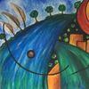 Himmel, Abstrakt, Acrylmalerei, Sonne
