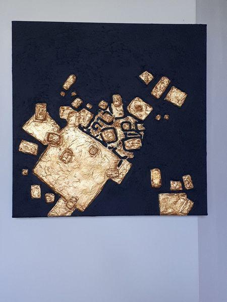 Quadrat, Gold, Würfel, Malerei,