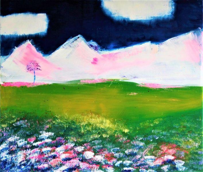 Berge, Landschaft, Wiese, Kalt, Blumen, Schnee