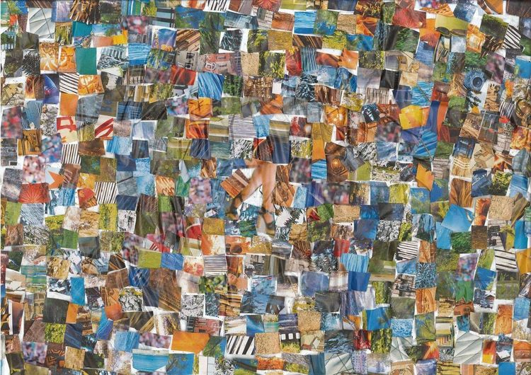 Collage, Modell, Farben, Blau, Mischtechnik, Bitte