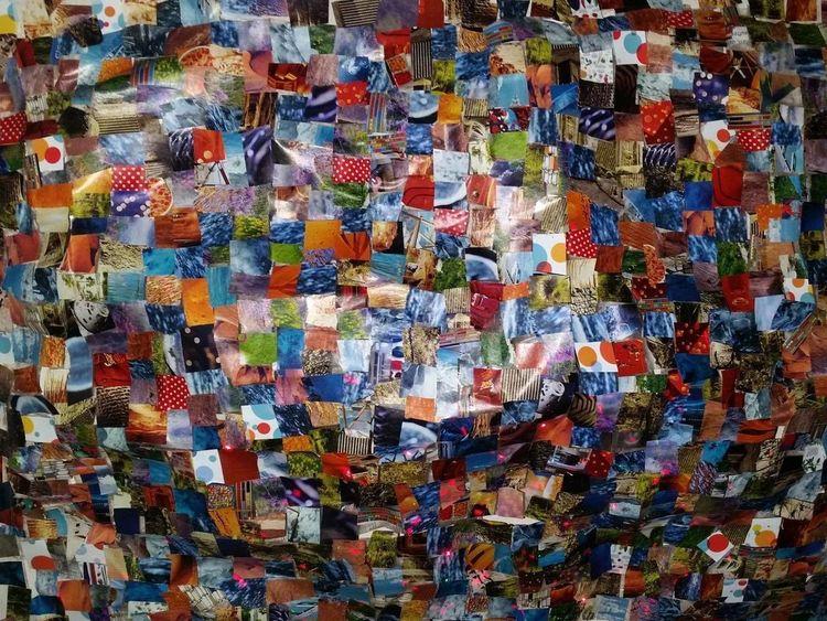 Collage, Farben, Bunt, Mischtechnik, Wurm