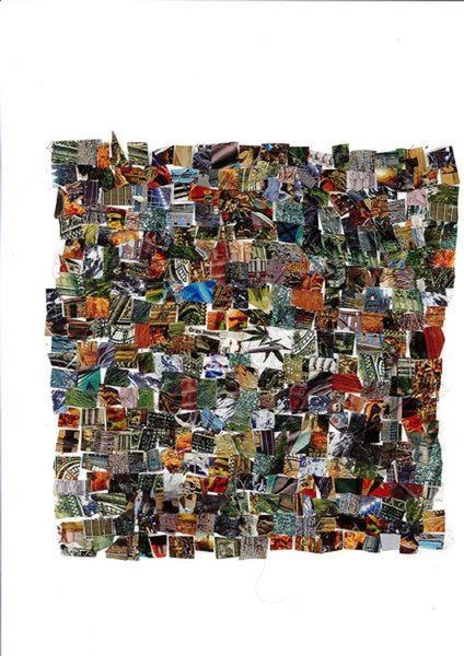 Collage, Bunt, Farben, Mischtechnik, Gras