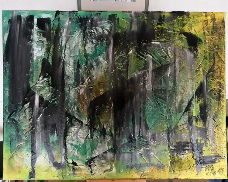 Acryl auf leinwand, Grün, Malerei acryl, Abstrakt, Malerei