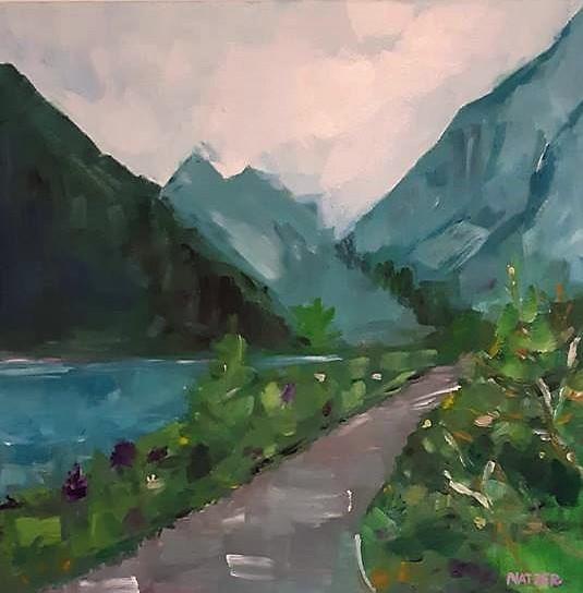 Berge, Weg, Bergen, Natur, Ölmalerei, Wasser