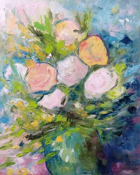Vase, Blumenstrauß, Farben, Blumen, Malerei