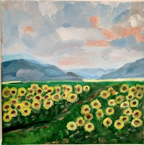 Freude, Sonnenblumen, Himmel, Berge, Malerei, Landschaft