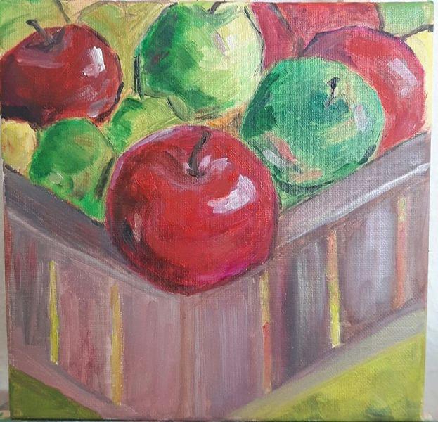 Ölmalerei, Holzkiste, Apfel, Herbst, Rot, Abstrakt