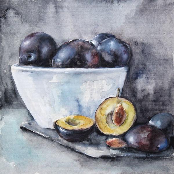 Blau, Malerei, Früchte, Stillleben, Realismus, Pflaume