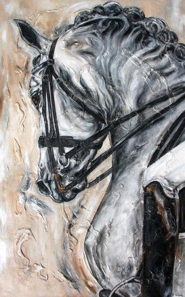 Pferde, Dressurpferd, Dressur, Pferdeportrait, Malerei,