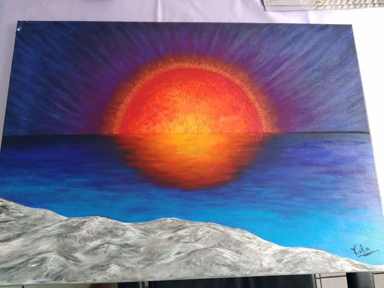 Blau, Sonnenuntergang, Wasser, Malerei,