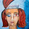 Frau, Blau, Rot, Malerei