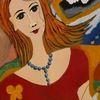 Portrait, Ölmalerei, Frau, Abstrakt