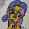 Violett, Frau, Grün, Aquarellmalerei
