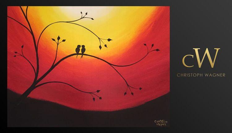 Sonnenuntergang, Malerei, Farben, Modern art, Vogel, Modern