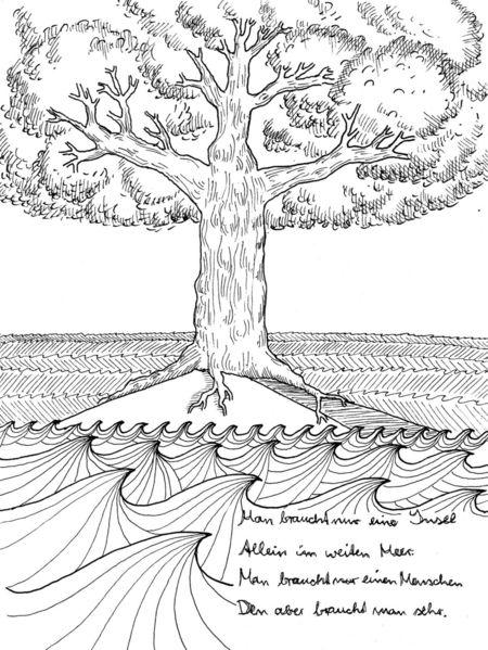Schwarz, Weiß, Meer, Gedicht, Baum, Illustrationen