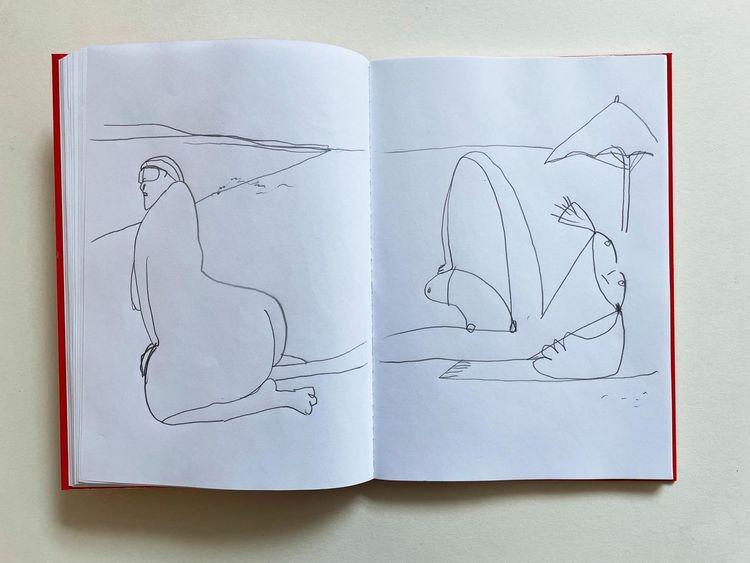 Strand, Skizze, Monika, Menschen, Urlaub, Zeichnungen