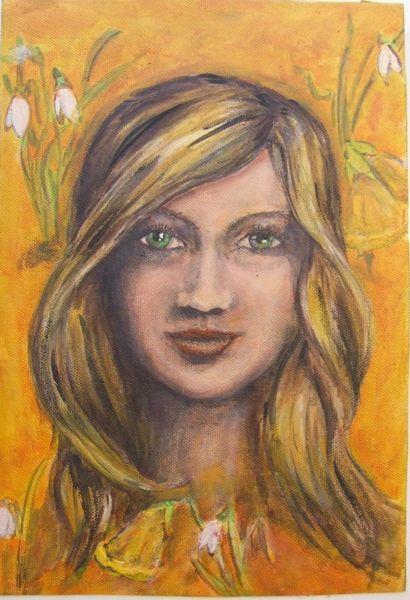 Osterglocken, Acrylmalerei, Bunt, Orange, Malerei, Ungerahmt