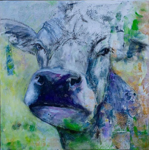 Collage, Seele, Kuh, Modern art, Malerei modern, Malerei