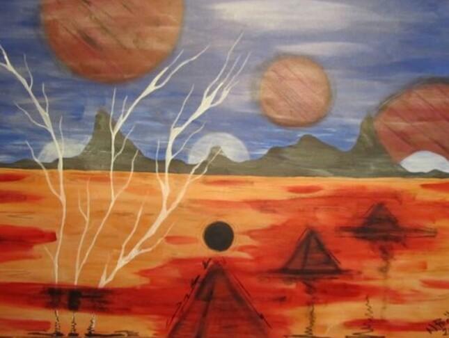 Malerei acryl, Acrylmalerei, Malerei, Planet
